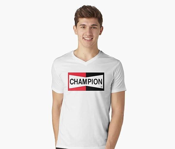 Champion Spark Plug V-Neck T-Shirt Gift T     - Amazon com