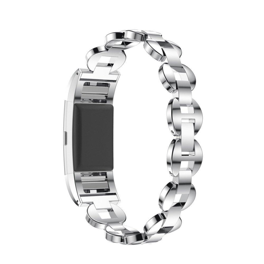 For Fitbit Charge 2、ホットキー交換用クリスタルステンレススチール時計バンド手首ストラップインターロッククラスプ付きFitbit Charge 2 Smart Watch cm-304 Silver and Blue Silver and Blue Silver and Blue B074V22354
