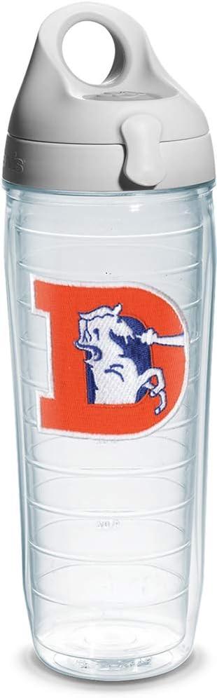 Tervis NFL Denver Broncos Legacy Emblem Individual Water Bottle with Gray Lid, 24 oz, Clear