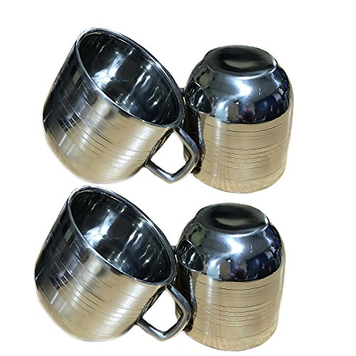 Valentines Day Gifts, Set Of 4 Stainless Steel Tea & Coffee Cups, Drinking Cups for Kids, Silver Color Size 2.9 X 2.9 Inch
