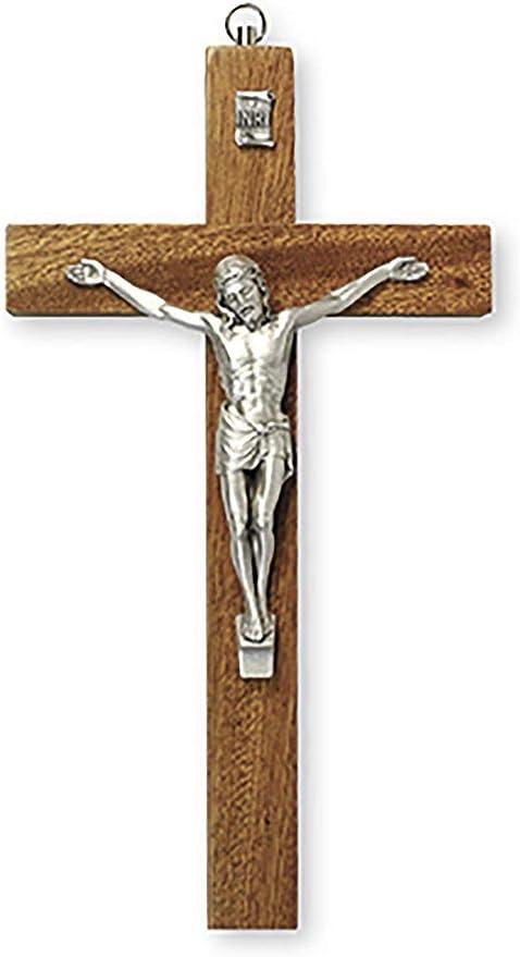 Crucifix Corps en m/étal Tradition catholique Cadeau de confirmation Cadeau de communion En bois de 25 cm de haut Cadeau ordinaire Croix en bois