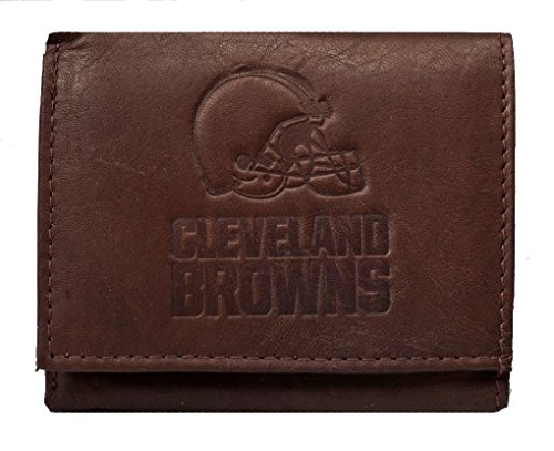 Rico Cleveland Browns NFL Embossed Logo Dark Brown Leather Trifold Wallet