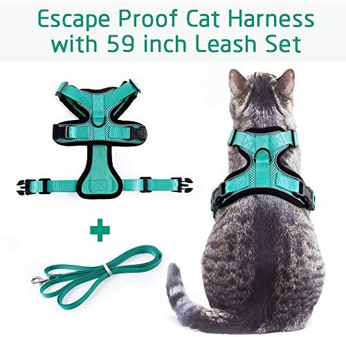 rabbitgoo Cat Harness and Leash for Walking, Escape Proof Soft Adjustable Vest Harnesses for Cats, Easy Control Breathable Reflective Strips Jacket 24