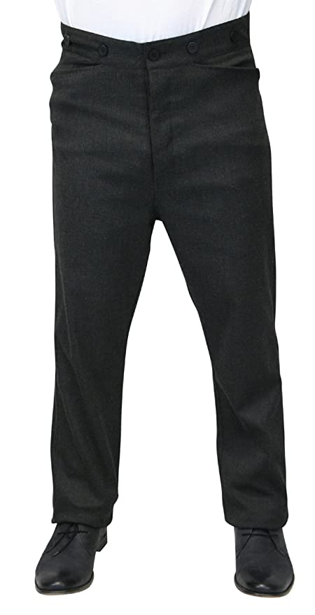 Men's Steampink Pants & Trousers Historical Emporium Mens High Waist Callahan Cotton Blend Dress Trousers $69.95 AT vintagedancer.com