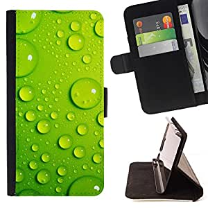 For Sony Xperia M2 Case , Hoja Gota de Agua Verde 3- la tarjeta de Crédito Slots PU Funda de cuero Monedero caso cubierta de piel