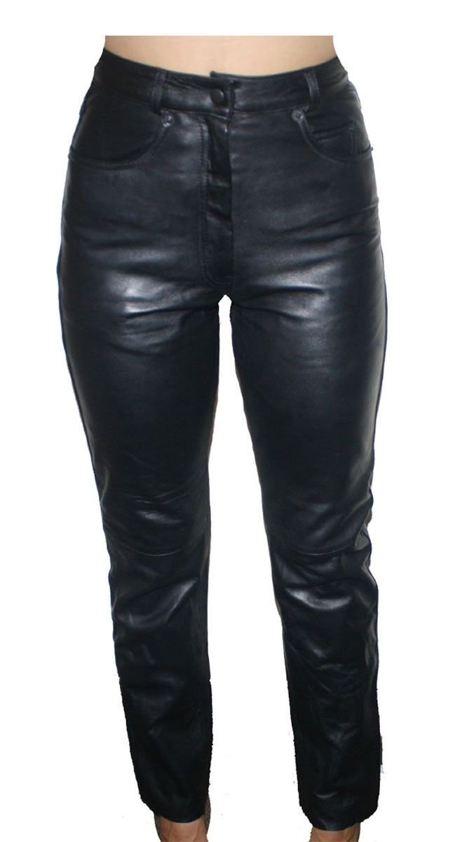 Womens Premium Genuine Lamb Leather 5 Pockets Jeans Style Black Pants_8 by Bonus