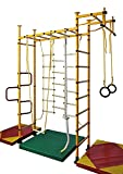 Training Gym Indoor Kids Playground Play Set Home Exercise Sports Fitness Training Wall Bars Pull Up Bar incl. Gymnastic Rings, Climbing Rope, Climbing Net, Trapeze Rope