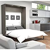 Bestar Furniture 80184-47 Queen Wall Bed in Bark Gray and