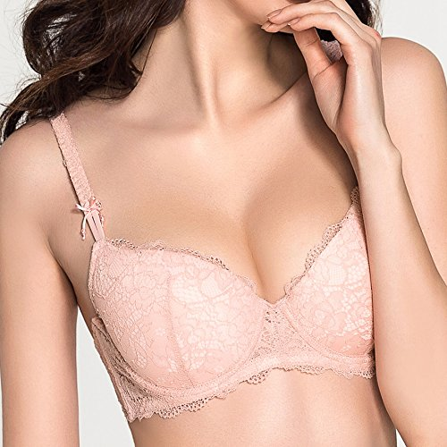 Eves temptation Womens Lisianthus Floral Lace Push Up Maximum Cleavage Everyday Bra Add Cups