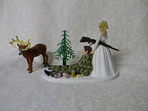 Wedding Party Reception Beer Cans Camo Redneck Deer Hunter Cake Topper
