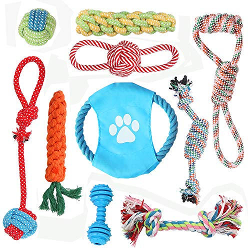 Kidsky 10 Pack Dog Rope Chew Toys, Pet Rope Toys, Puppy Tough Teething - Puppy Rope