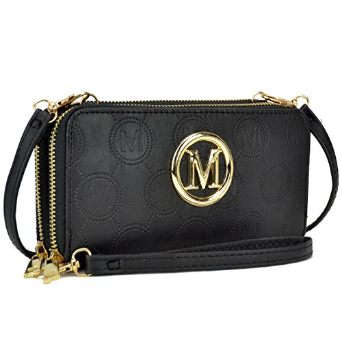MMK Classic Card Case Double layer Zip Around Wallet for Women~Fashion Women Wallet With Wristlet Strap 1083-BK
