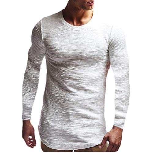 - Abetteric Men Blouse T Shirt Solid-Colored Jacquard Casual Long Sleeve Tops White M