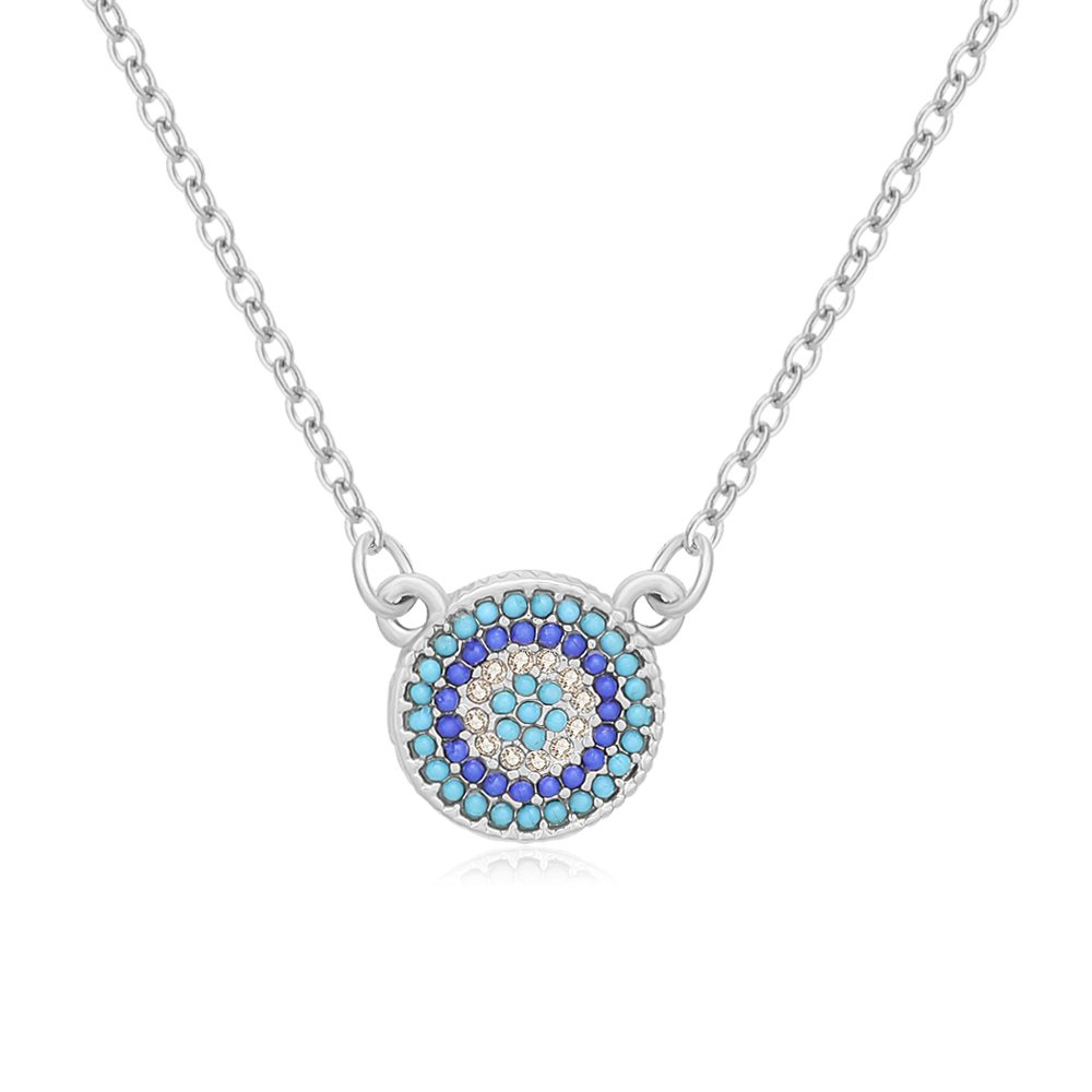 SENFAI Delicate Turkey Blue Evil Eye Pendants Necklace 18 3 Tone