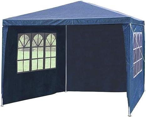Cliselda - Cenador de jardín plegable (2,5 x 2,5 m, impermeable, con paredes laterales, revestimiento de PVC, con capa protectora plateada, bolsa de ...