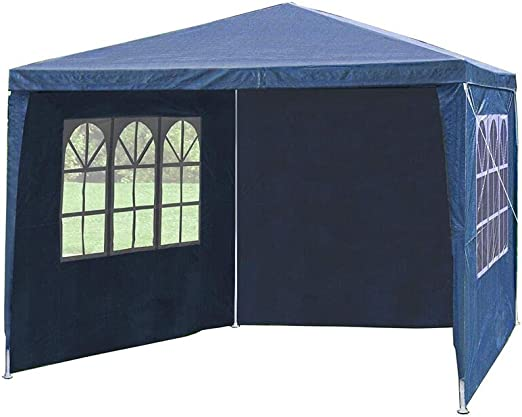 Cliselda - Cenador de jardín plegable (2, 5 x 2, 5 m, impermeable, con paredes laterales, revestimiento de PVC, con capa protectora plateada, bolsa de transporte incluida, color azul: Amazon.es: Jardín