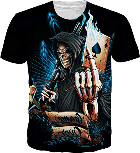 OPCOLV Mens 3D Printed Lifelike T-Shirts Cool Graphic Skull Pokers Punisher Flame Top Shirt Casual Fitness Summer Short Sleeve Tees Size L ()