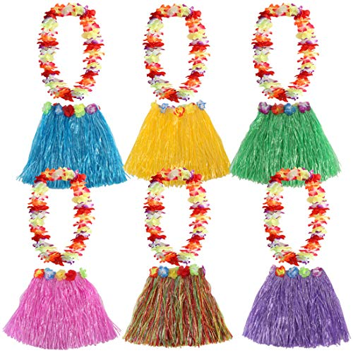 Darling Floral Skirt - kilofly 6 Sets Girls Elastic Hawaiian Dancer Grass Hula Skirt Floral Lei Costume