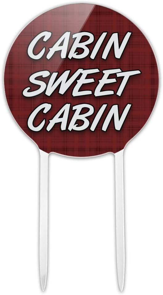 GRAPHICS & MORE Acrylic Cabin Sweet Cabin Red Plaid Cake Topper Party Decoration for Wedding Anniversary Birthday Graduation