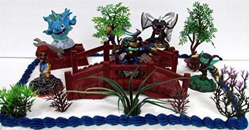 SKYLANDERS 12 Piece Birthday Cake Topper Set Featuring 5 Random Skylander Figures and Themed Decorative Accessories - Figures Average 1.5