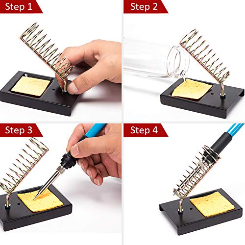 hothuimin Soldering Iron Kit Electronics, 60W 110V Adjustable Temperature Welding Tool, 5pcs Soldering Tips, Desoldering Pump, Soldering Iron Stand with Carrying Case by hothuimin (Image #4)