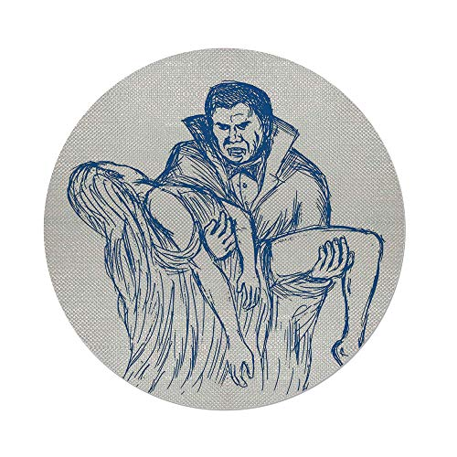 Cotton Linen Round Tablecloth,Vampire,Count Dracula in Cape Carrying His Prey Victim Woman Sketchy Halloween Artwork,Blue and White,Dining Room Kitchen Table Cloth Cover]()
