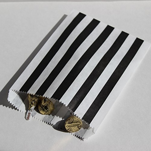 Bakers Bling Black and White Stripe Party Favor Bags with Stickers, 5.5