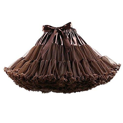 FOLOBE Adult Luxurious Soft Chiffon Petticoat Tulle Tutu Skirt Women's Tutu Costume Petticoat Ballet Dance Multi-Layer Puffy Skirt Chocolate ()
