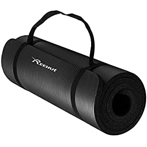 Reehut 1/2-Inch Extra Thick High Density NBR Exercise Yoga Mat for Pilates, Fitness & Workout w/Carrying Strap - Black