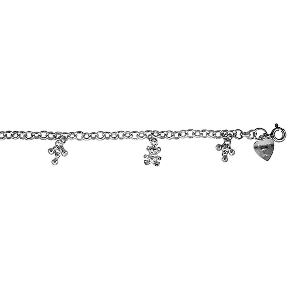 Revoni Sterling Silver Rolo Anklet w/ Teddy Bear Charms