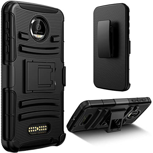 E LV Moto Z Force Belt Swivel Clip Case with Kickstand - Dual Layer Armor Holster Defender Full Body Protective Case Cover for Motorola Moto Z Force (not Compatible for Moto Z) - [Black]