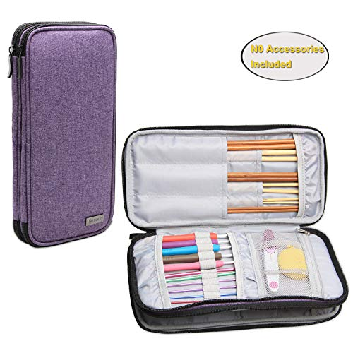 Teamoy Knitting Needles Case(up to 10-Inch), Travel Organizer Storage Bag for Circular and Straight Knitting Needles, Crochet Hooks and Knitting Accessories, Purple-NO Accessories ()