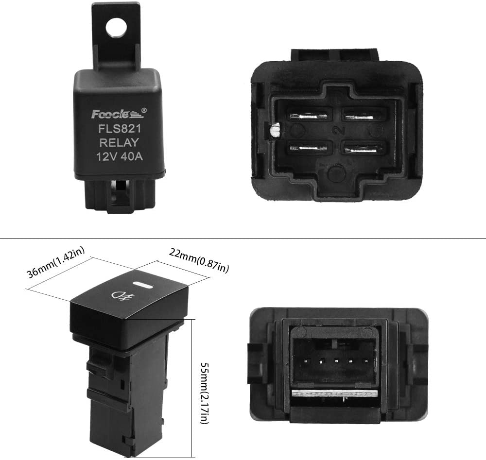 HUIQIAODS Fog Light Wiring Harness Switch Relay Kit On//Off 12V 40A Waterproof Fuse