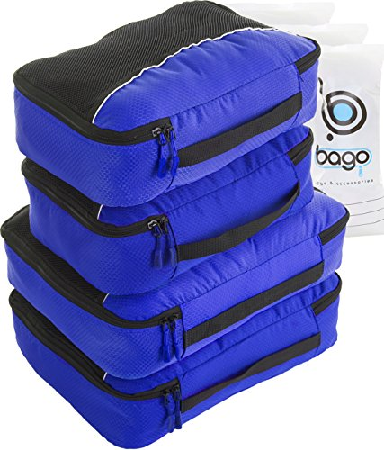 Organizing Packing Bags 4pcs Set Cubes - Plus 6pcs toiletry Bags (Deep Blue)