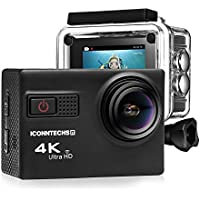 Action Camera for Sports Photography | UHD 4K/24fps, 1080P/60fps, IMX078 Sensor, 70-170 Wide Angle Lens, Waterproof up to 30m by ICONNTECHS IT (Black)