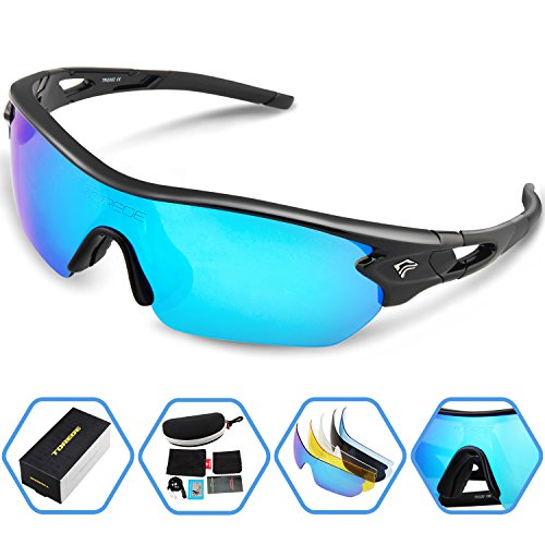 0f054e21cd Torege Polarized Sports Sunglasses With 5 Interchangeable Lenes for Men  Women Cycling Running Driving Fishing Golf Baseball Glasses TR002