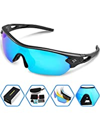 Polarized Sports Sunglasses With 5 Interchangeable Lenes for Men Women Cycling Running Driving Fishing Golf Baseball Glasses TR002