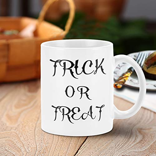 Halloween Coffee Mug Trick or Treat Funny Coffee Mug Novelty Halloween Gifts Ceramic Coffee Cup Halloween Party Decoration 11 Ounce October
