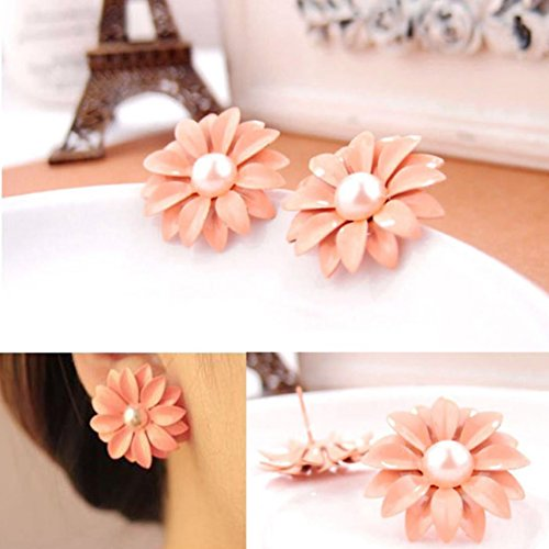 Pearl Daisy Ring - Kanzd Women Lady Lovely Daisy Flower Pearl Stud Earrings Ornament Decoration (A)