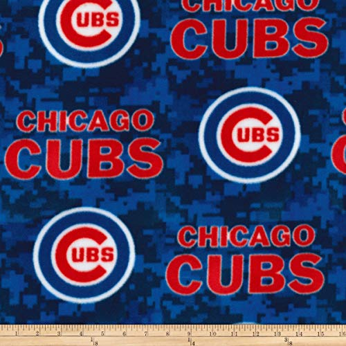 (Fabric Traditions MLB Fleece Chicago Cubs Blue/Red Fabric by The Yard)