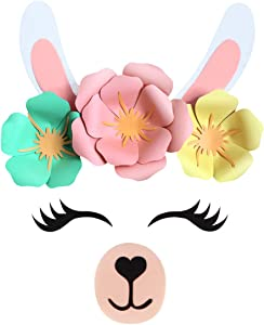 llama Backdrop Decoration, Party Supplies Decorations for Girls Birthday Party Baby Shower - DIY llama Flower Backdrop with Cute Ears Eyelashes