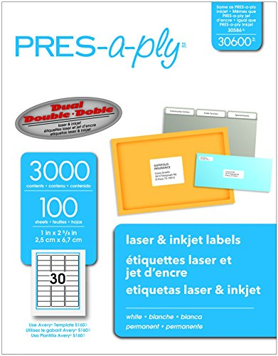 Pres-A-Ply Laser Address Labels, 1 x 2-5/8, White, 3000/Box (Pres Labels Laser Printer A-ply)