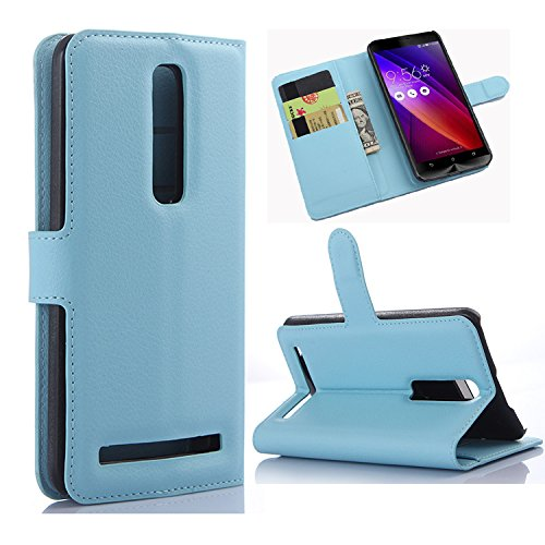 """Asus Zenfone 2 (5.5"""" Inch) Case - Demomm(tm) Flip Pu Leather Wallet Case Holder Cover with Stand / Card Slots for Asus Zenfone 2 Ze550ml / Ze551ml Smartphone (5.5""""-Blue)"""