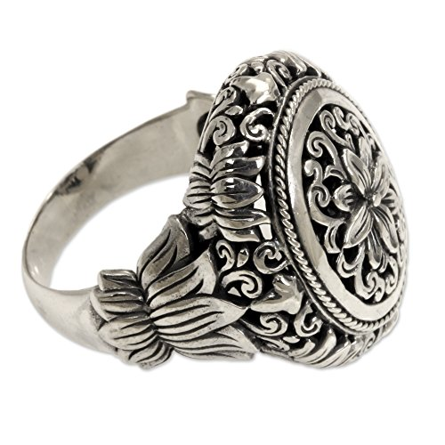 NOVICA .925 Sterling Silver Hand Made Floral Cocktail Ring, 'Precious Lotus' by NOVICA