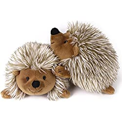 PAWABOO Bed Time Stuffed Animal Toys Plush Dog Toy Pet Chew Toy, [2PACK] Non-toxic Super Soft Plush Hedgehog Figure Toys, Brown