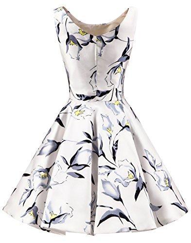 Blumen Knielang Retro Kleid Damen Weiß Rundhalsausschnitt Erosebridal Vintage Einfach qTUPt5wxX