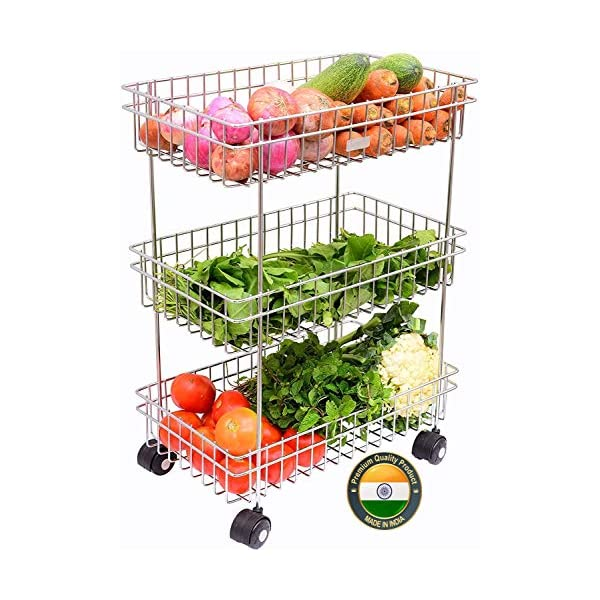 Best Steel Fruits & Vegetable Trolley Container for Kitchen India 2021