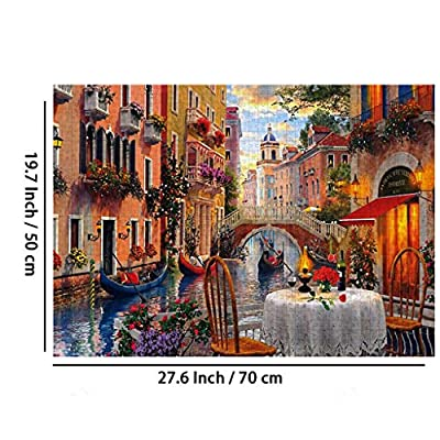 ANGELGG 1000 Pieces Jigsaw Puzzles Family Entertainment Intellectual Game Education Decompression Toys for Adults & Kids (Water Town): Toys & Games