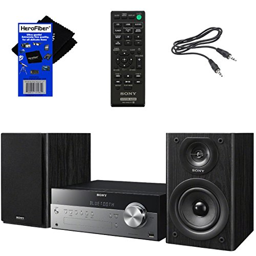 Sony All in One Stylish Micro Music Stereo System with Wireless Streaming NFC (Near Field Communications), Bluetooth, USB, CD Player & AM/FM Tuner + Remote + Aux Cable + HeroFiber Cleaning Cloth (System Shelf Stereo Home)