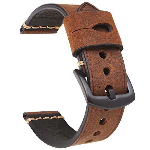 756951ba9 Vintage Leather Watch Band EACHE Watch Strap Crazy Horse Genuine Leather  Replacement Watchband for Men for
